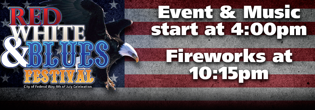 Red, White and Blues Festival - July 4th Event starts at 4PM, Fireworks at 10:15pm